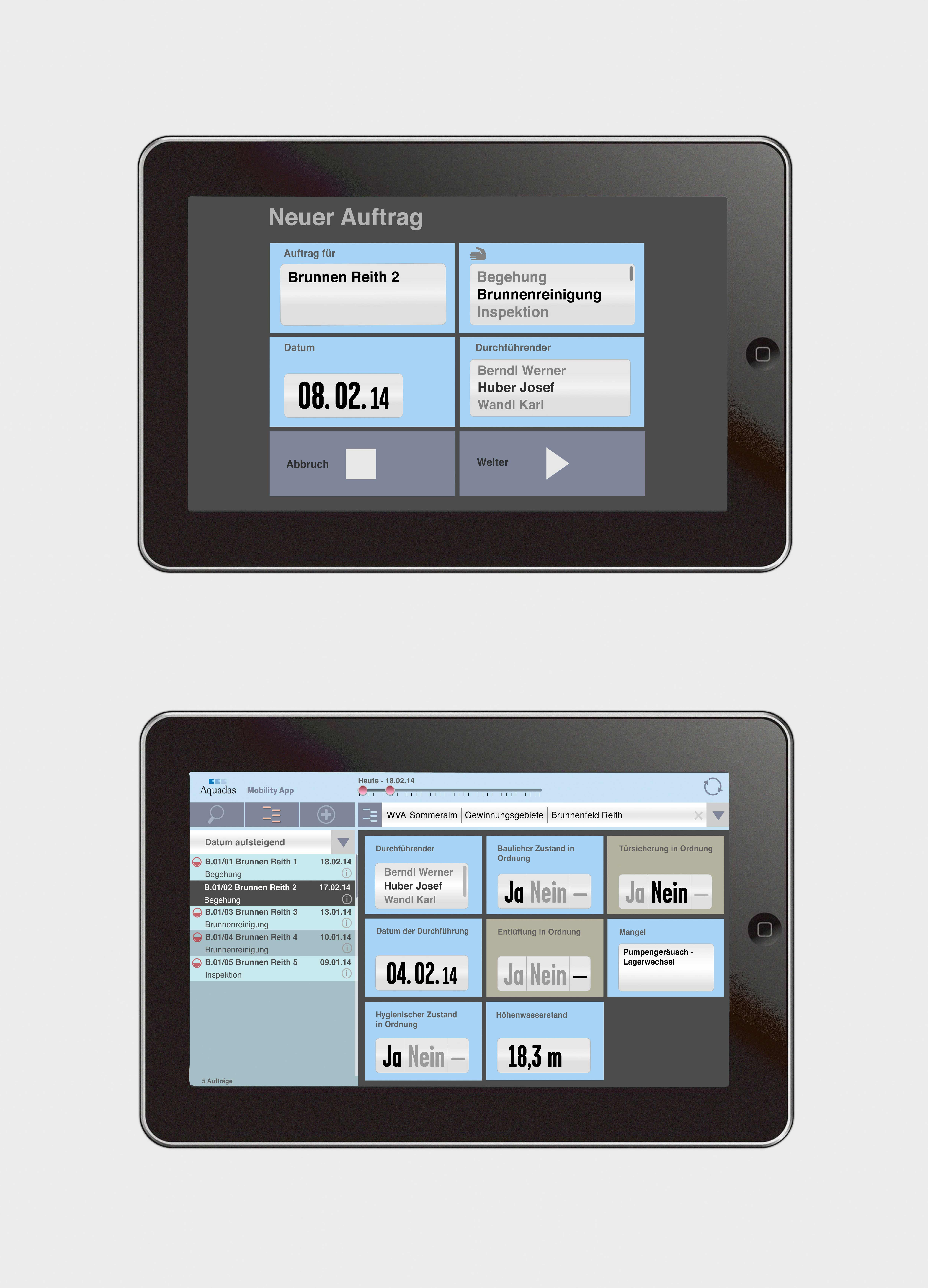 2 tablets with App-interface