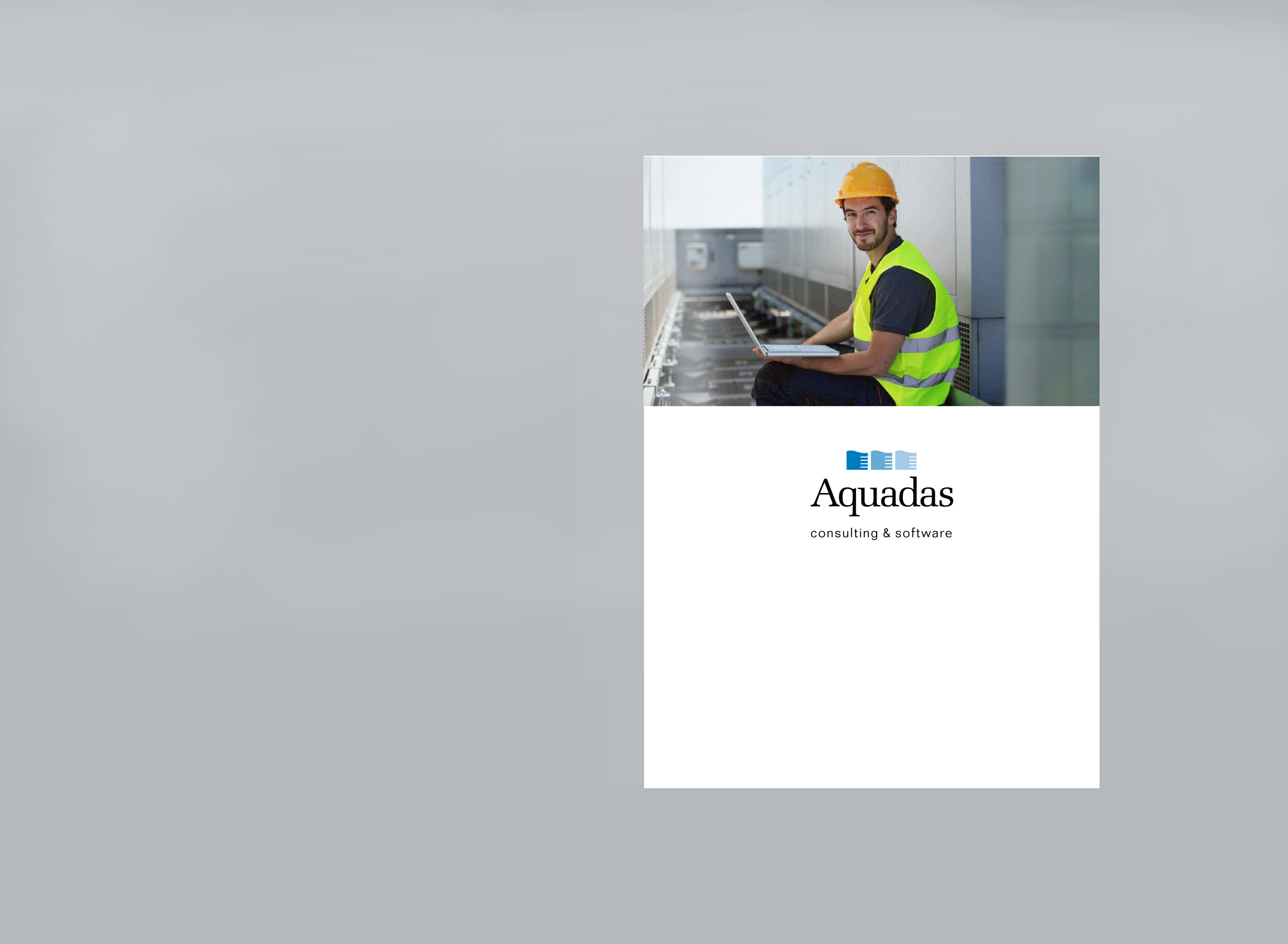Cover of folder. Photo of worker with laptop.