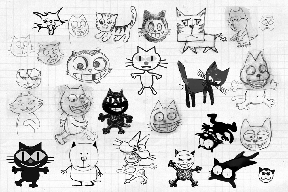 Sketches of various cat characters.