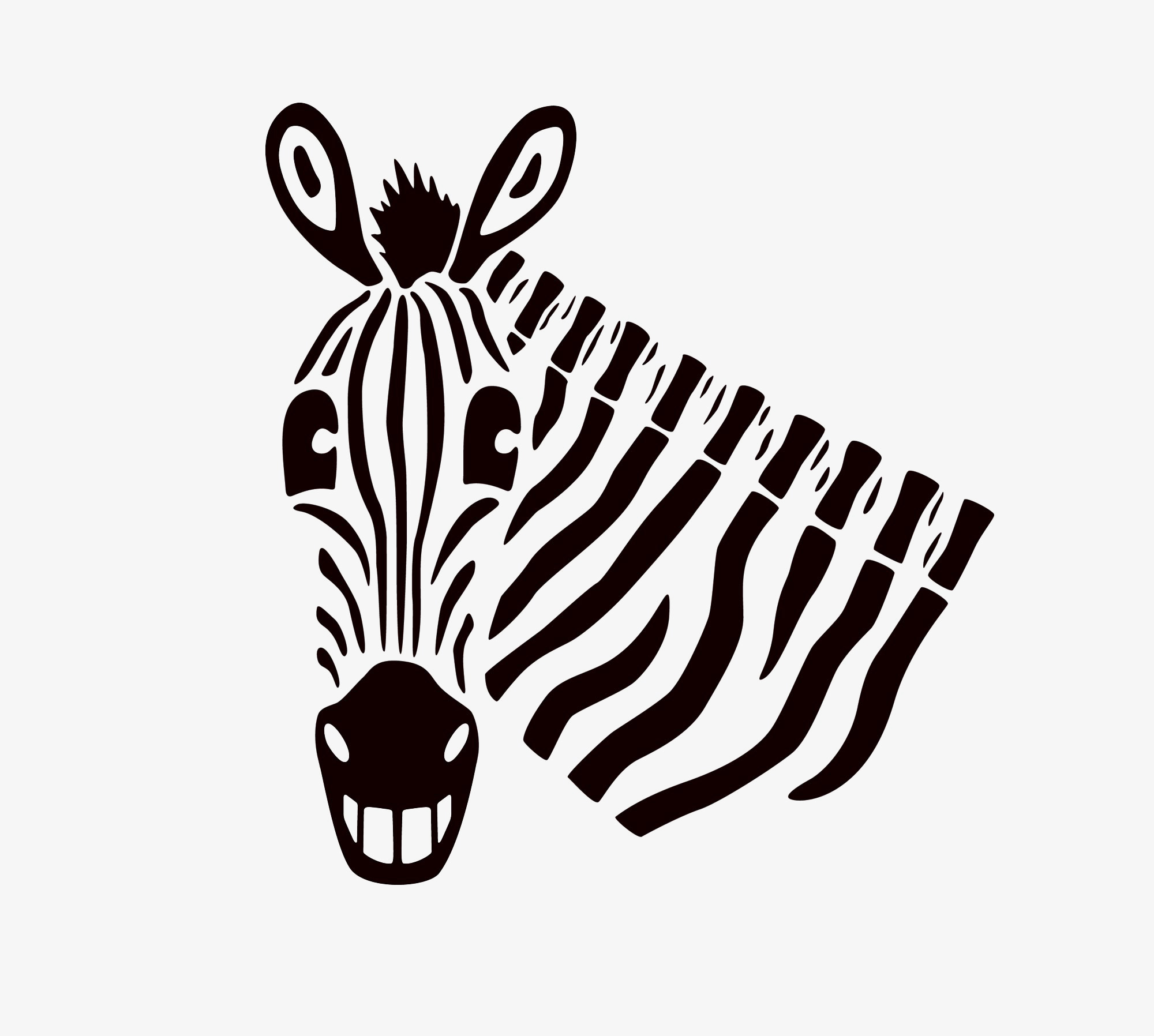 Illustration of a smiling zebra.