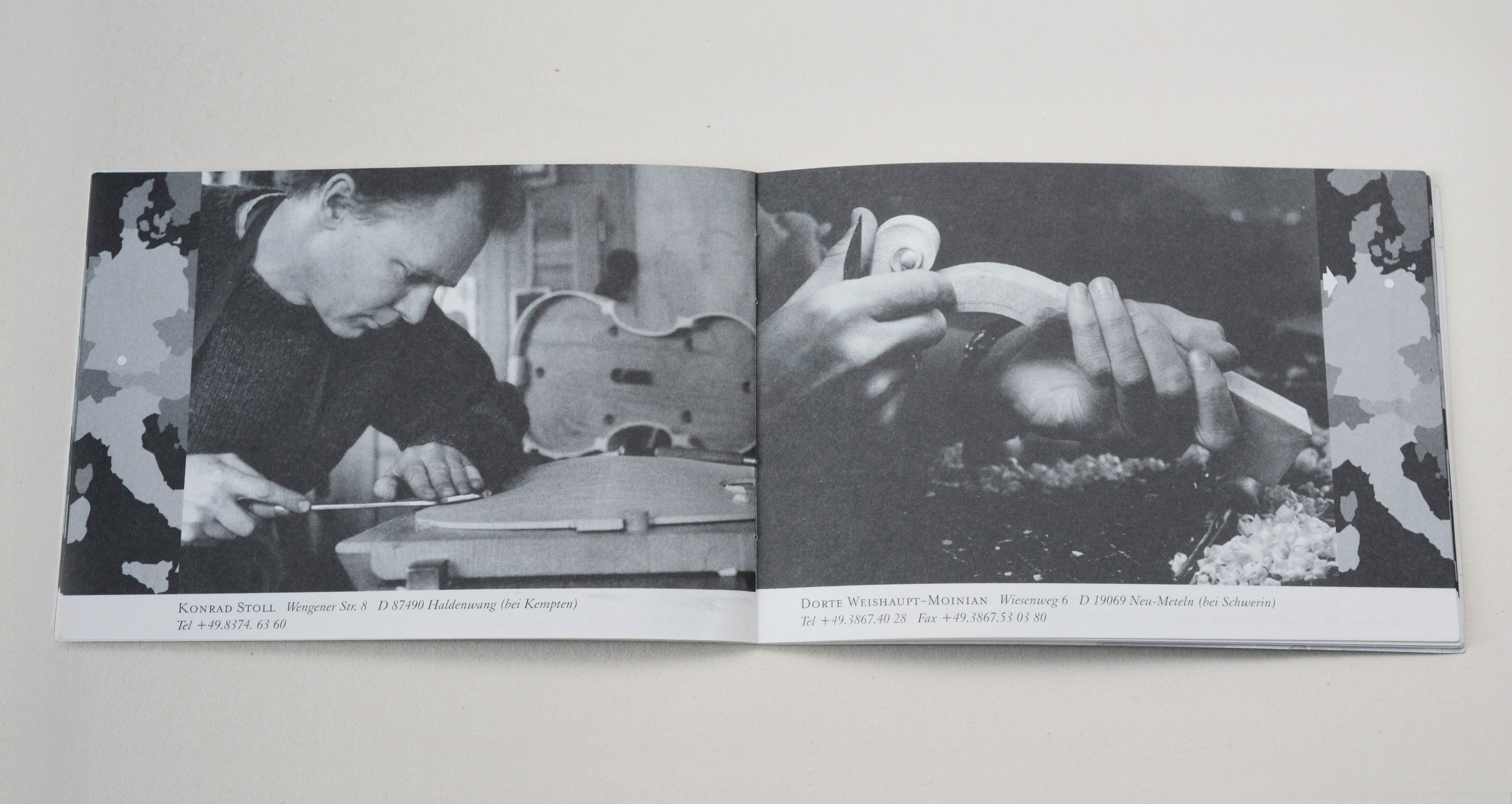 Double page. On each page full-page b/w photos. Column-sized map with marking point at the edges covering part of photo. Line of small text in white space underneath. Left: Man carving on top plate of violin. Right: 2 hands hold violin scroll.