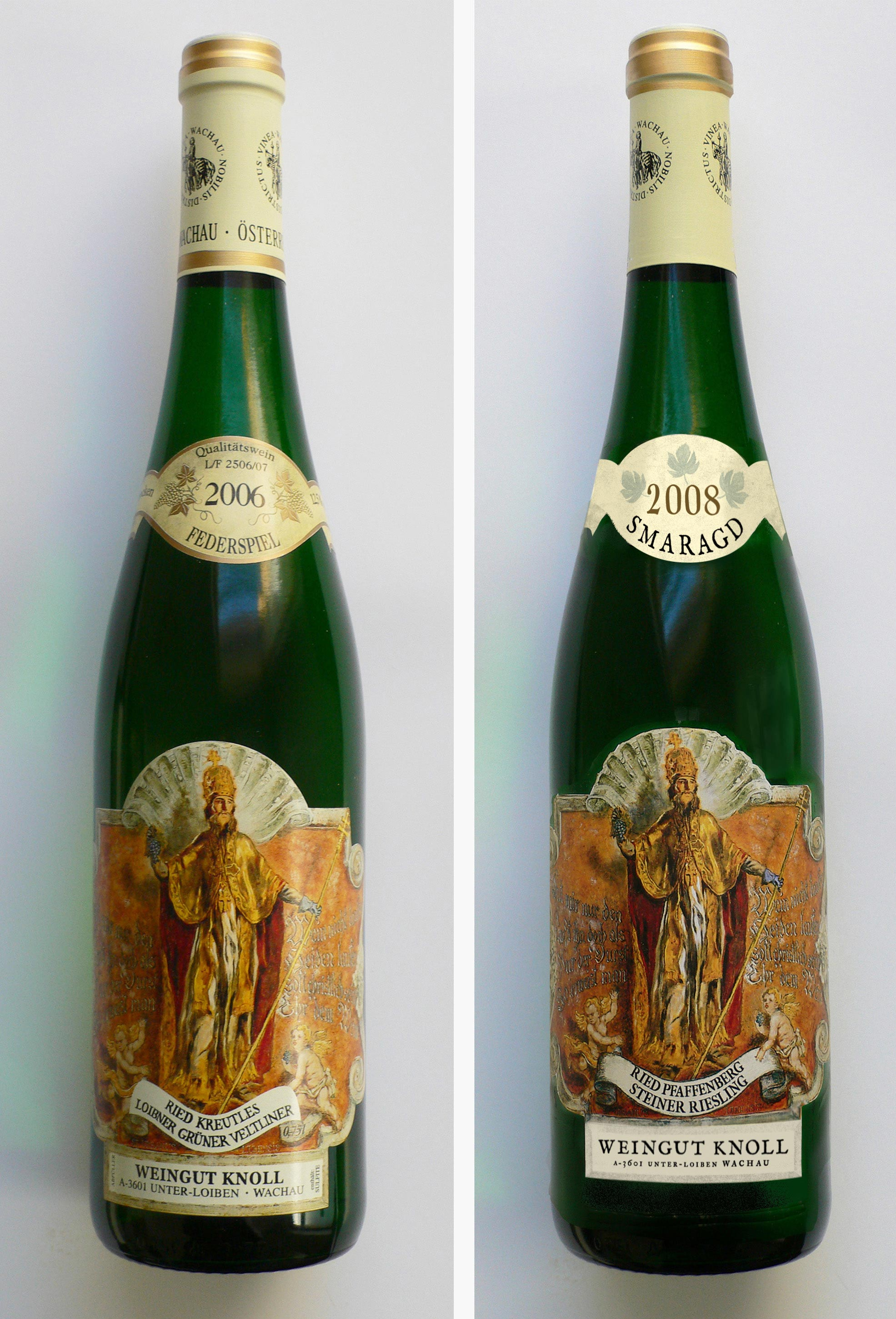 2 photos of the same wine bottle. Label differs slightly.